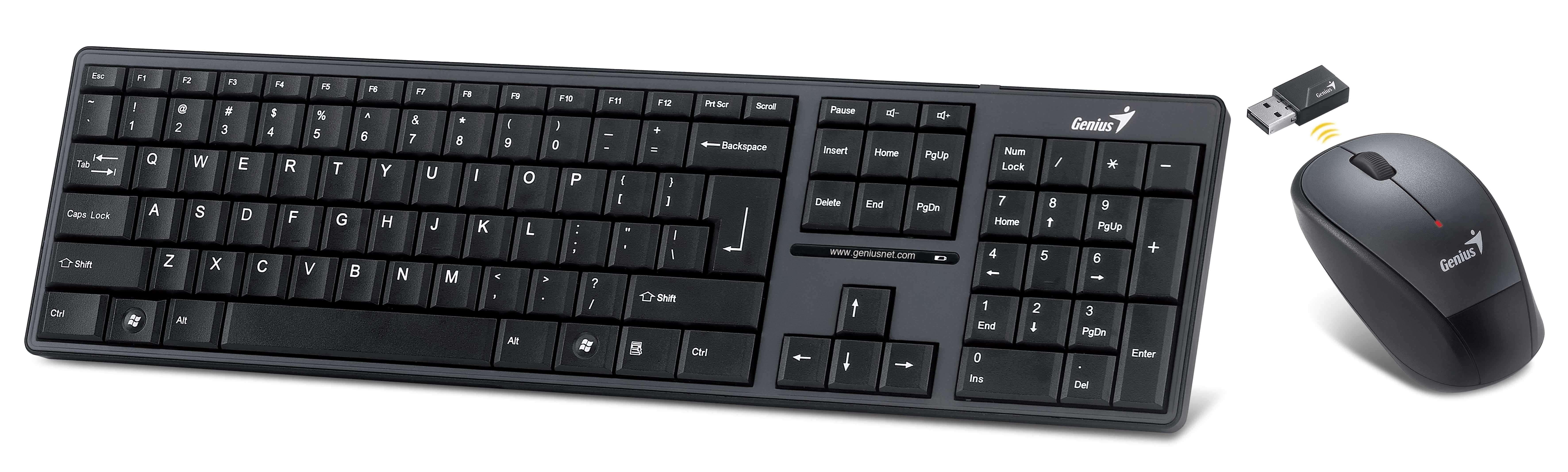 Kit Teclado e Mouse Sem fio - Genius SlimStar 8000